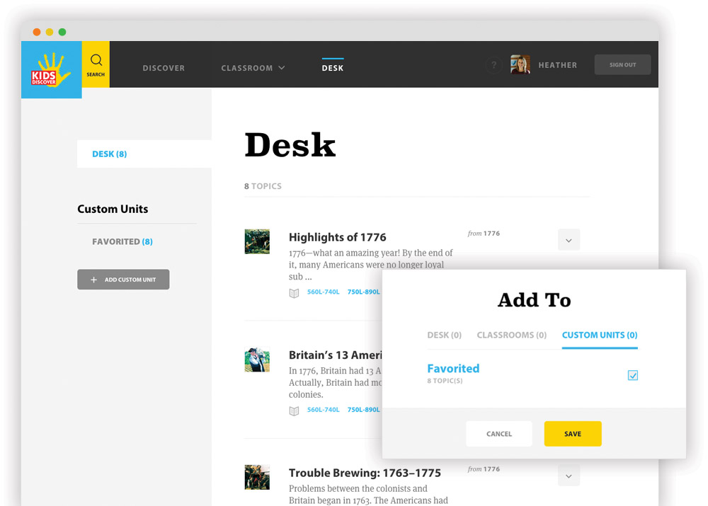 Screenshot of the desk feature