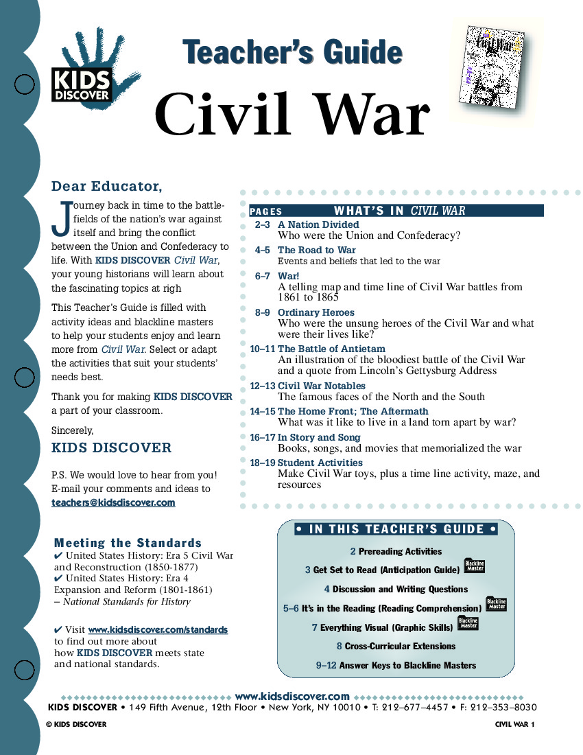 Worksheets Civil War Worksheets civil war kids discover tg 062 jpg war