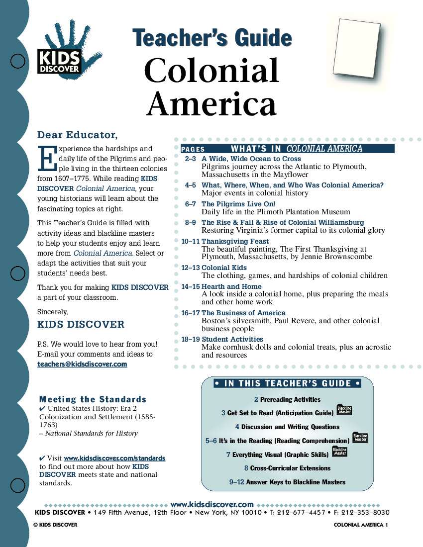Worksheets Colonial America Worksheets colonial america kids discover tg 024 jpg