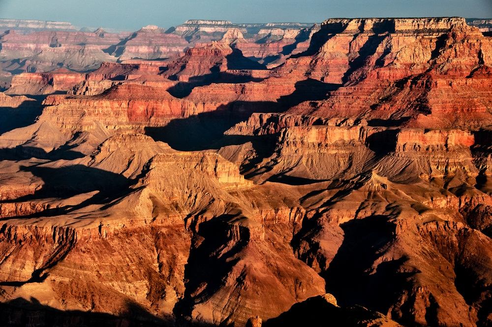 The Grand Canyon displays layer upon layer of sedimentary rock. The most ancient layers at the bottom are more than 500 million years old. The youngest layer, the 270-million-year-old Kaibob limestone, is at the top. The sediments that form limestone are not from rock, but from the broken down shells of sea creatures. (Martin M303/ Shutterstock)