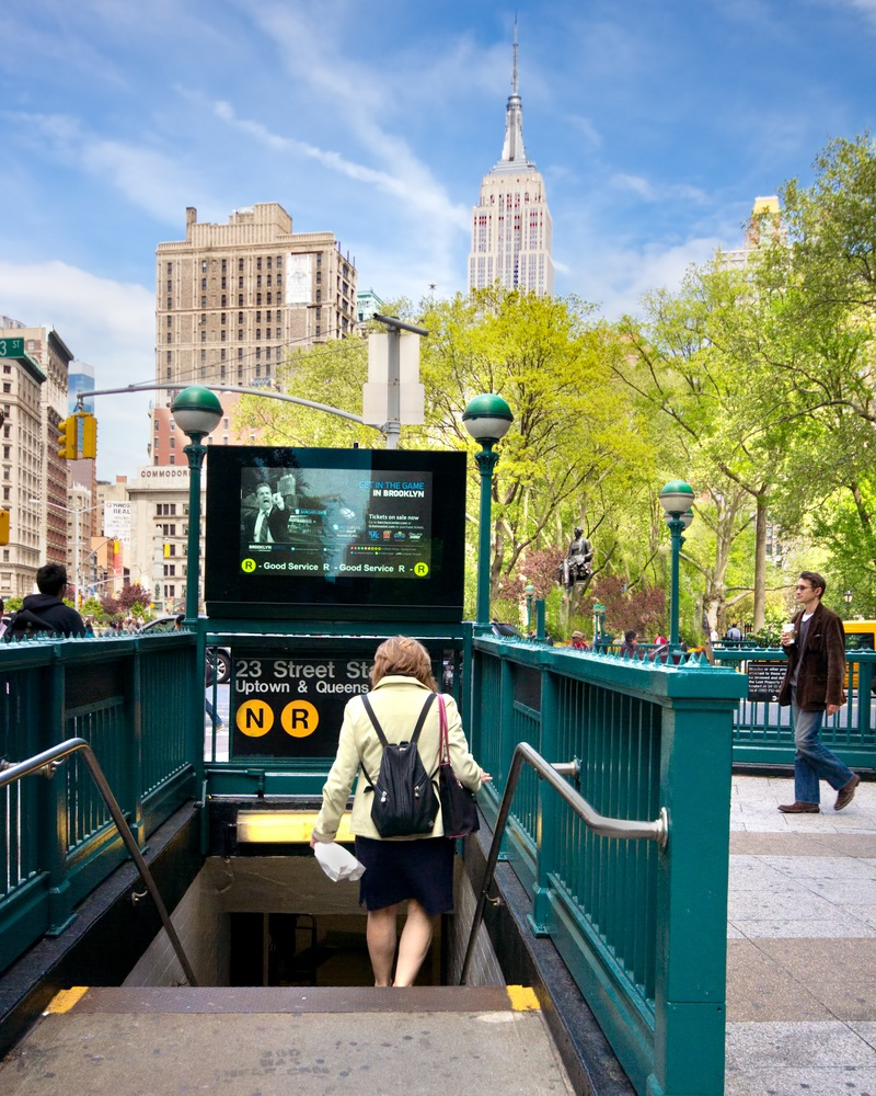 Carrying 5.3 million people every weekday and running 24 hours a day, the New York City subway system is the biggest urban rail system in the United States with 468 stations. (littleny/ Shutterstock)