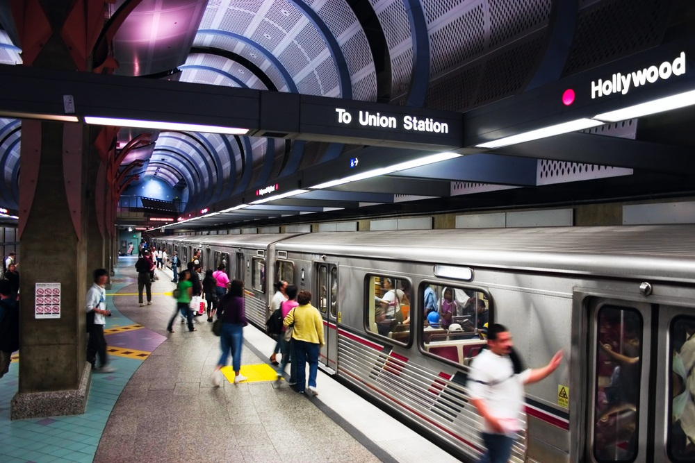 When it comes to transportation, Los Angeles is best known for its freeways and traffic jams. These days the city is embracing its new Metro Rail system and building more track. (Yusef El-Mansouri/ Shutterstock)