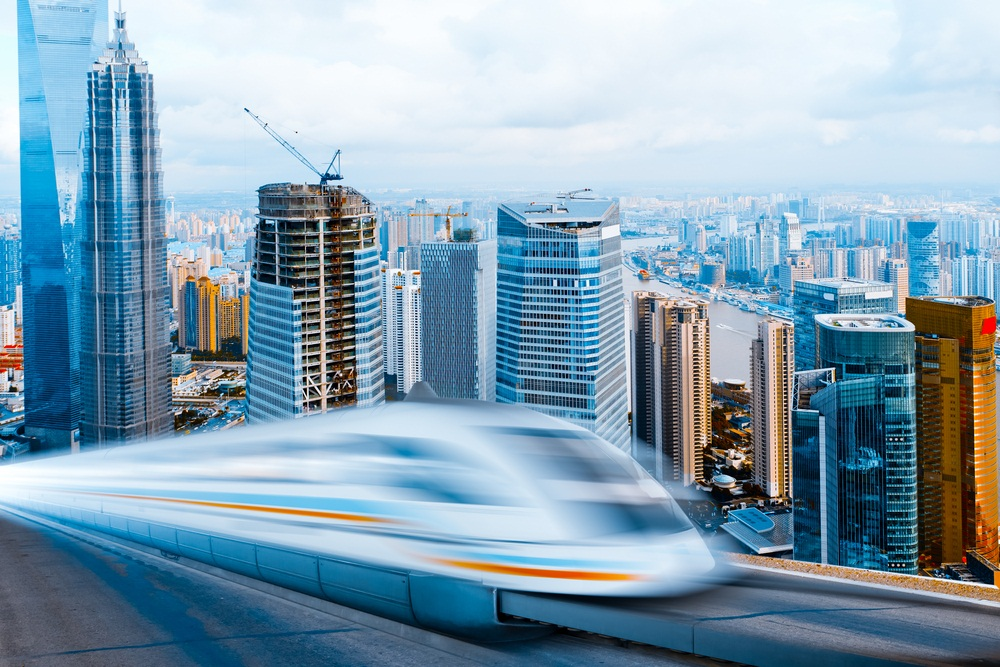 A maglev train rockets through downtown Shanghai. (ssguy/ Shutterstock)