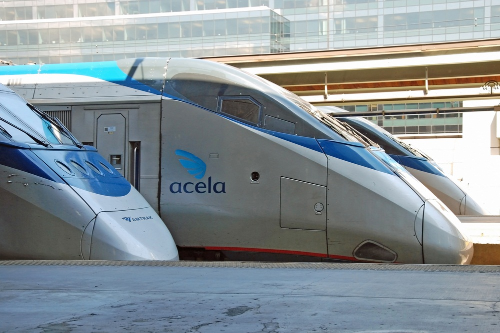 An Acela Express train in Washington, D.C. will arrive in New York City in 2 hours, 45 minutes. The same trip by car takes about 4 hours. (Vacclav/ Shutterstock)