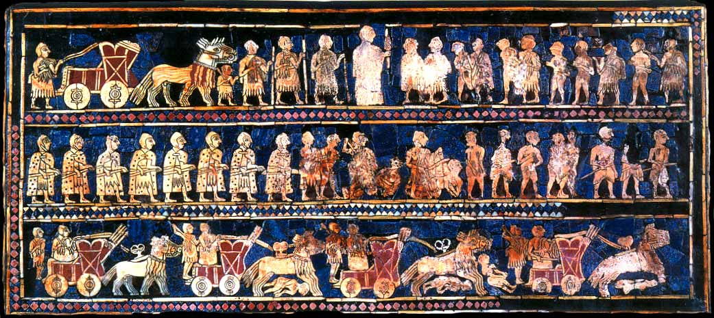 A reconstructed mosaic, dating from about 2550 BC shows ancient Sumerians and their war chariots. The top panel shows the king in the center with a group of prisoners in front of him. The mosaic was found in a royal tomb in the ancient city of Ur in Iraq. (Photo via Wikipedia)