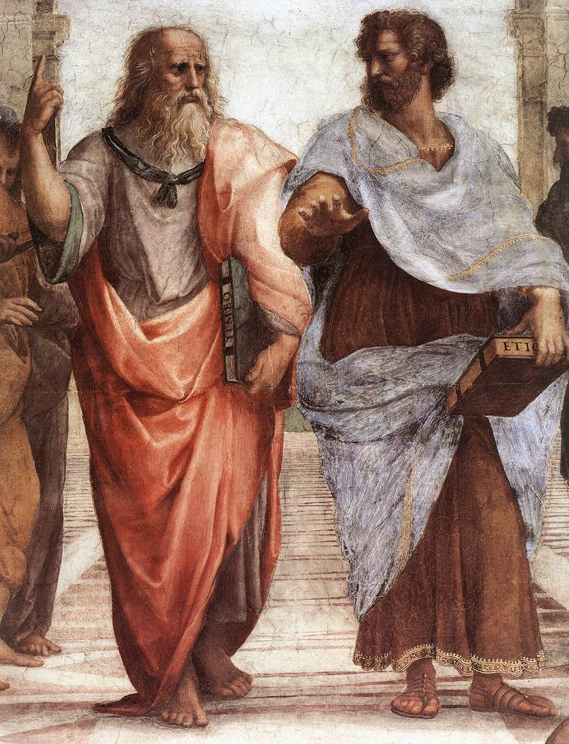 Caption: Plato (left) and Aristotle discuss their different philosophies in this fresco by the Italian Renaissance painter Raphael. (Photo via Wikipedia)