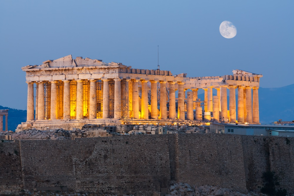 Originally built in 432 BC, the Parthenon in Athens was built to honor the city's patron goddess, Athena. On the same site, a previous temple to Athena had stood, but it was destroyed during a war with the Archaemenid empire. (Nick Pavlakis/ Shutterstock)