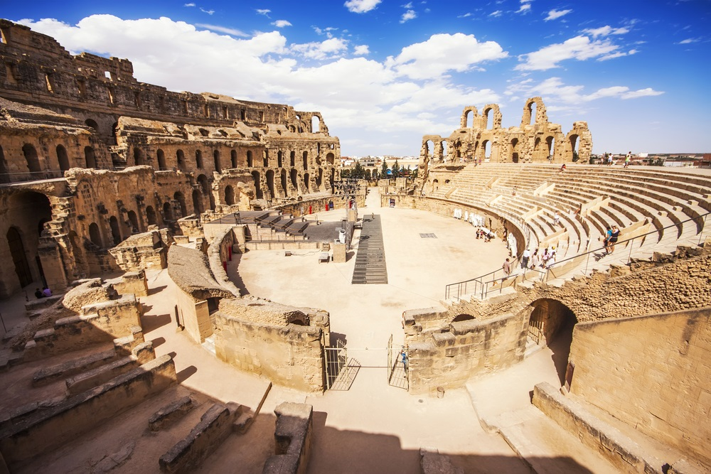 In the once-great Roman city of Thysdrus (now El Djem in Tunisia), this amphitheater, built in AD 238, seated 35,000 people who came to see gladiators fight against each other and wild lions. (Marques/ Shutterstock)