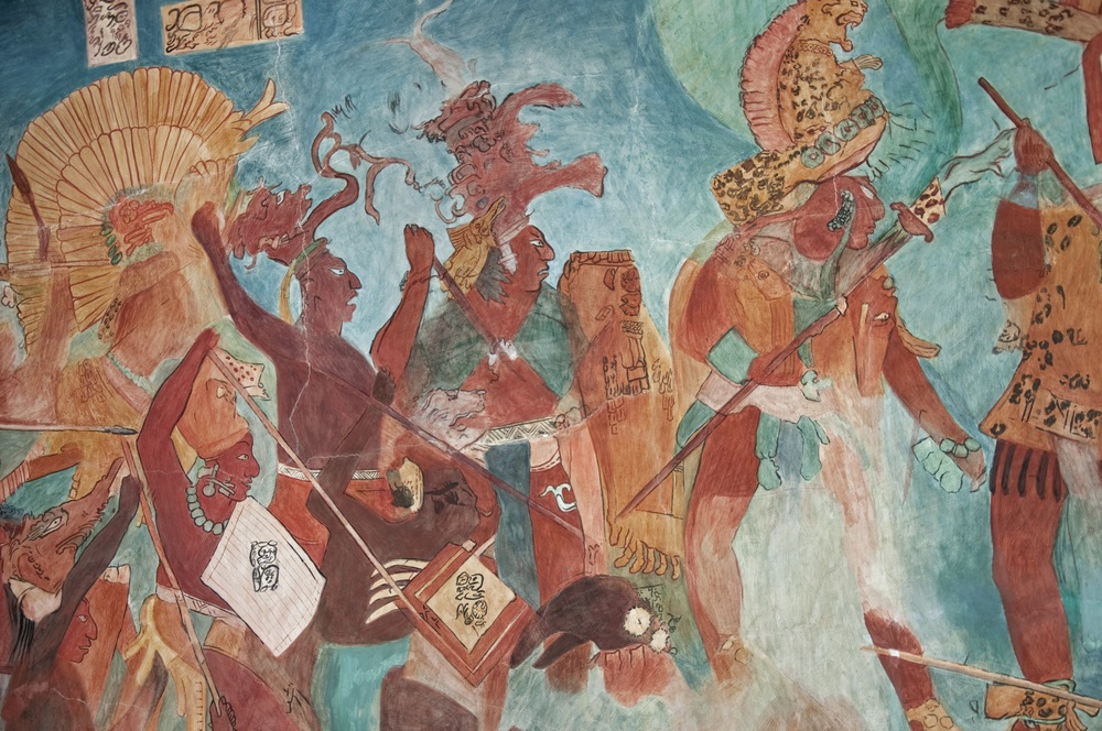 Covering the walls of a Maya temple in Chiapas, Mexico, this mural depicts a battle scene. Maya warriors carried spears with obsidian blades and engaged in hand to hand combat. Members of the royal court wore jade earrings, jaguar-skin coats, and elaborate headdresses. (Irafael/ Shutterstock)