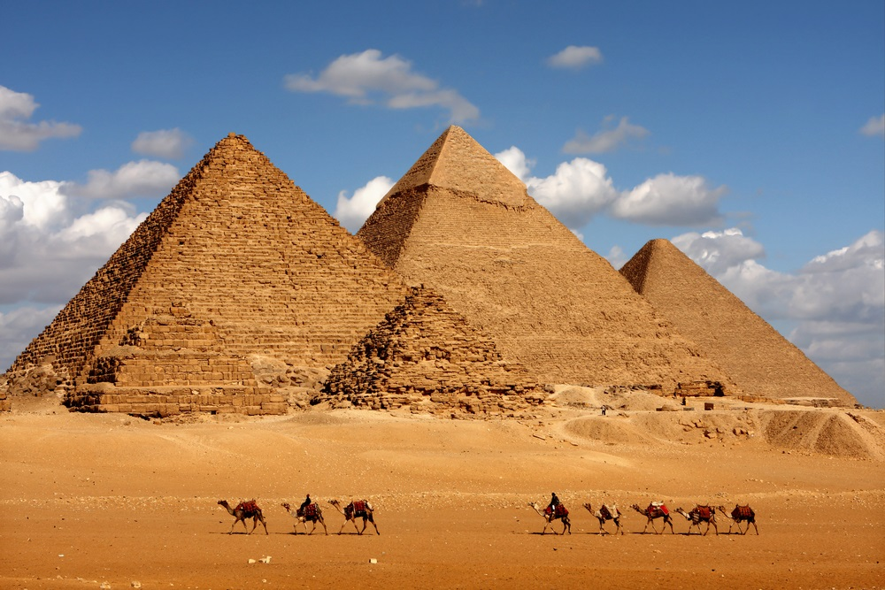 The great pyramids at Giza were built to be monumental tombs for three ancient Egyptian pharaohs: Khufu, Khafre, and Menkaure. (sculpies/ Shutterstock)