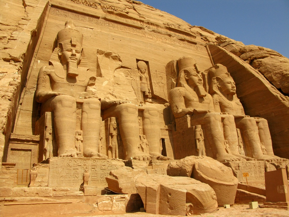 The Abu Simbel Temple was carved out of a mountainside in southern part of the Egyptian Empire under the orders of Pharaoh Ramesses II in 1244 BC. The statues depict the pharaoh himself. More than a vanity project, monuments like this were meant to intimidate rival kingdoms. (Nestor Noci/ Shutterstock)