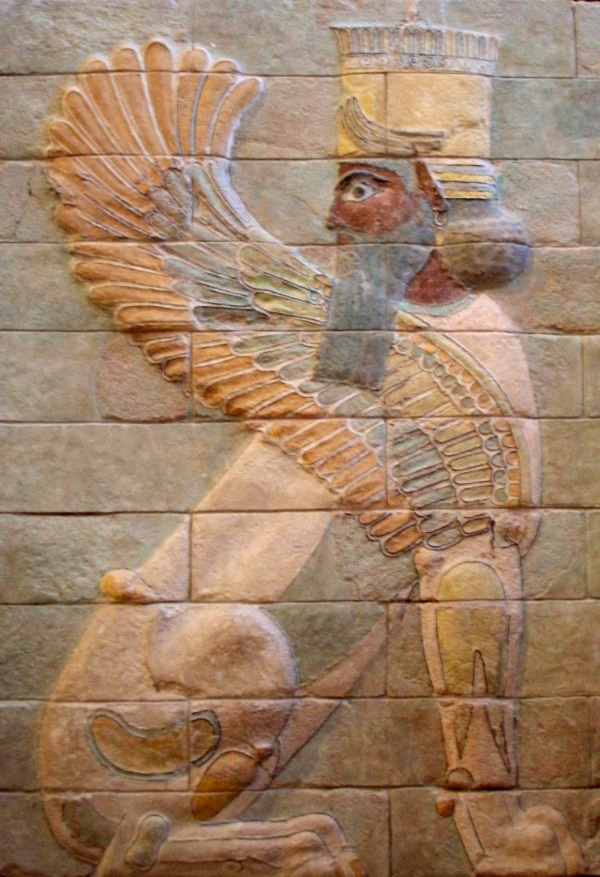 "This human-headed winged lion was part of the palace of Darius the Great at Persepolis. The figure is a guardian angel called a ""lamassu,"" and statues of theses figures were often set at palace gates. (Photo via Wikipedia)"