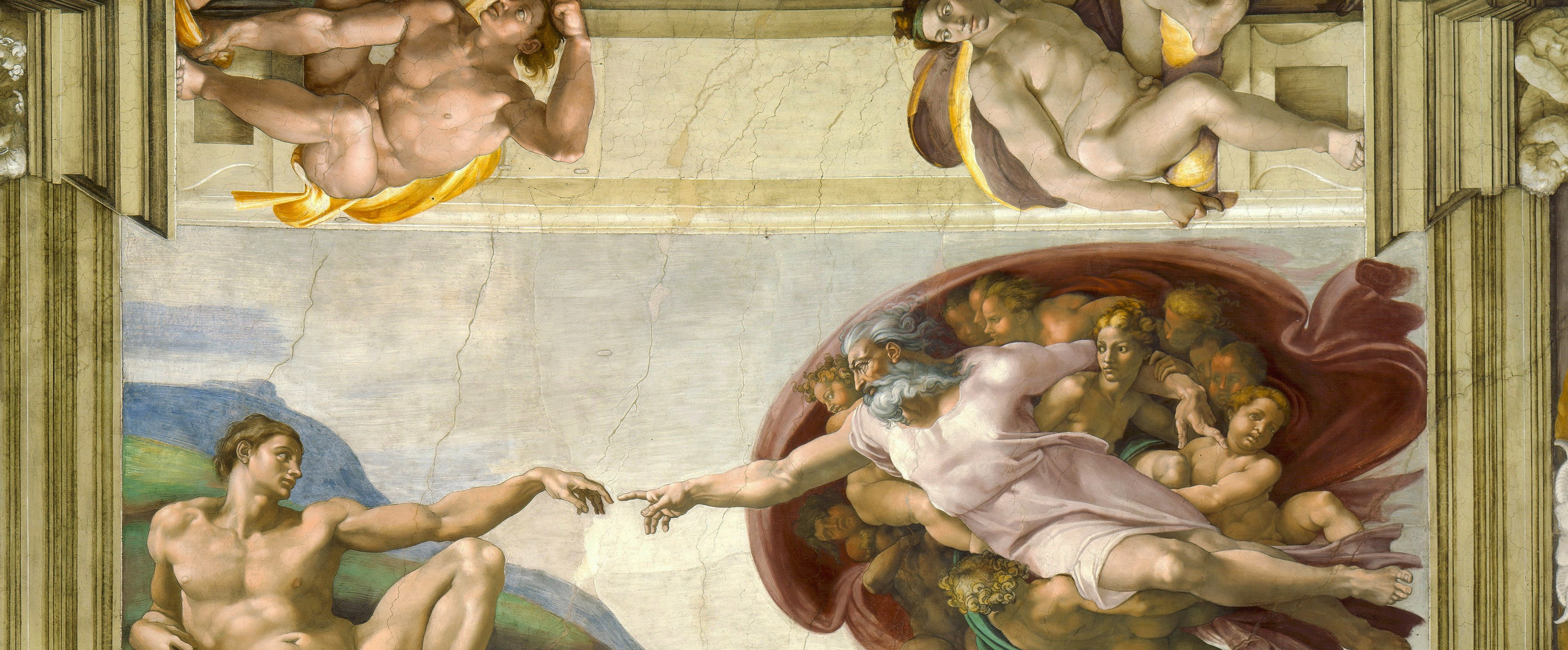 Michelangelo's The Creation of Adam on the ceiling of the Sistine Chapel in Rome is one of the most famous artworks of the Renaissance. (Image via Wikipedia)