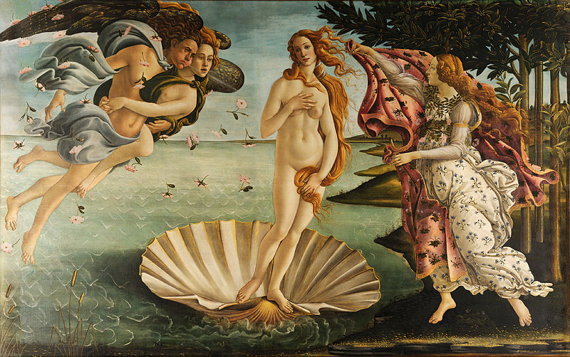In one of the most well-known paintings of the Renaissance, The Birth of Venus, Sandro Botticelli depicts the Roman goddess of love. To make Venus as sublime as possible, Botticelli added flecks of real gold to Venus' hair. This painting was commissioned by the powerful Medici family in 1486. Like most Renaissance painters, Botticelli lived off commissions he received from wealthy patrons. (Image via Wikimedia Commons)