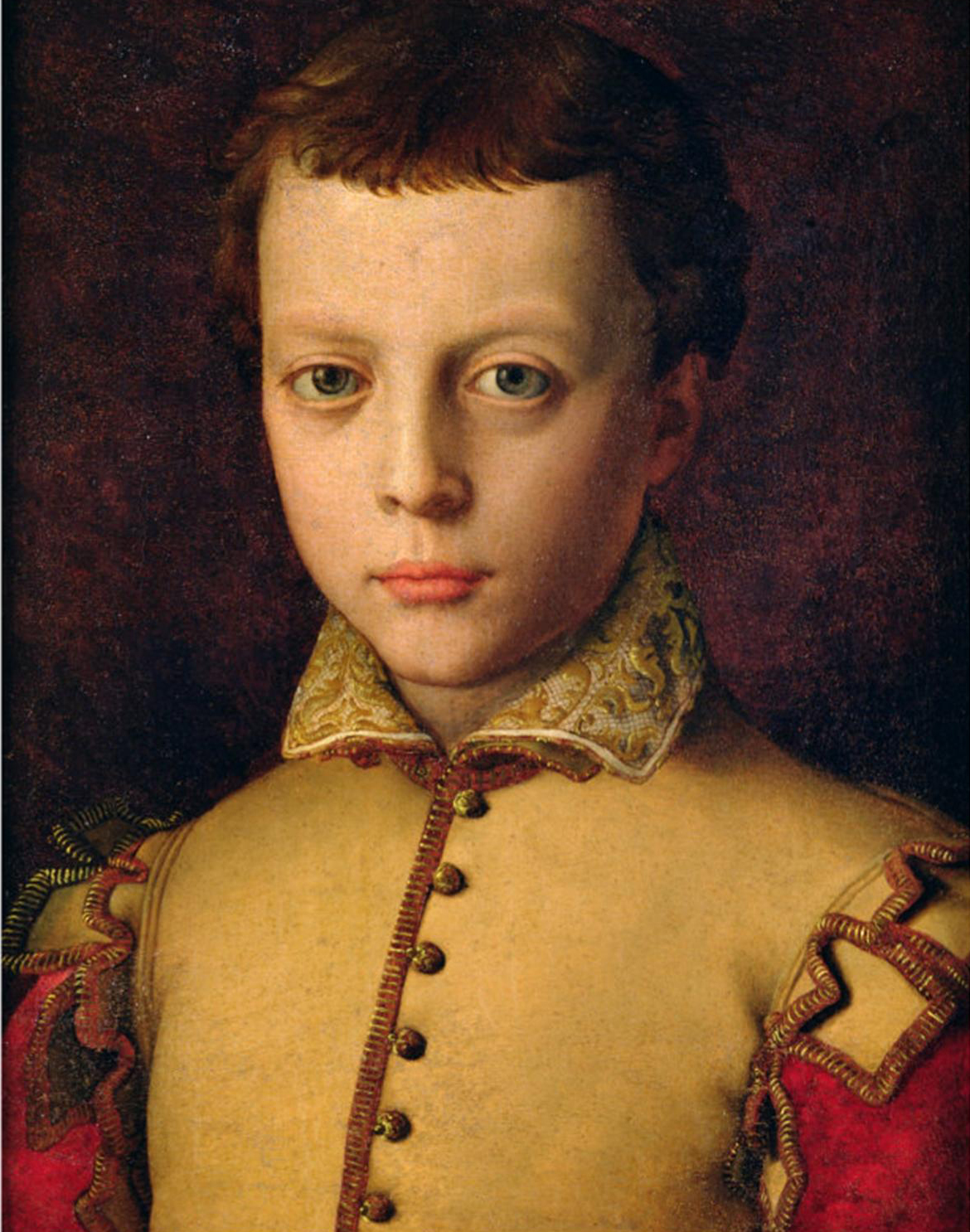 The Medici family was a political dynasty that lasted for over 200 years, producing nine leaders of the Republic of Florence, four popes of the Catholic Church, and numerous dukes of Florence and Tuscany. This portrait of Ferdinando de'Medici as a youth was painted by Agnolo Bronzino in about 1560. Court painter to the Medicis for much of his career, Bronzino is known for the care he took in portraying his wealthy patrons' costumes. In this painting, Ferdinando's garment looks almost three-dimensional—as if you could feel the texture of the satin and velvet. Later in life, Ferdinando became the Grand Duke of Tuscany. (Image via Wikimedia Commons)