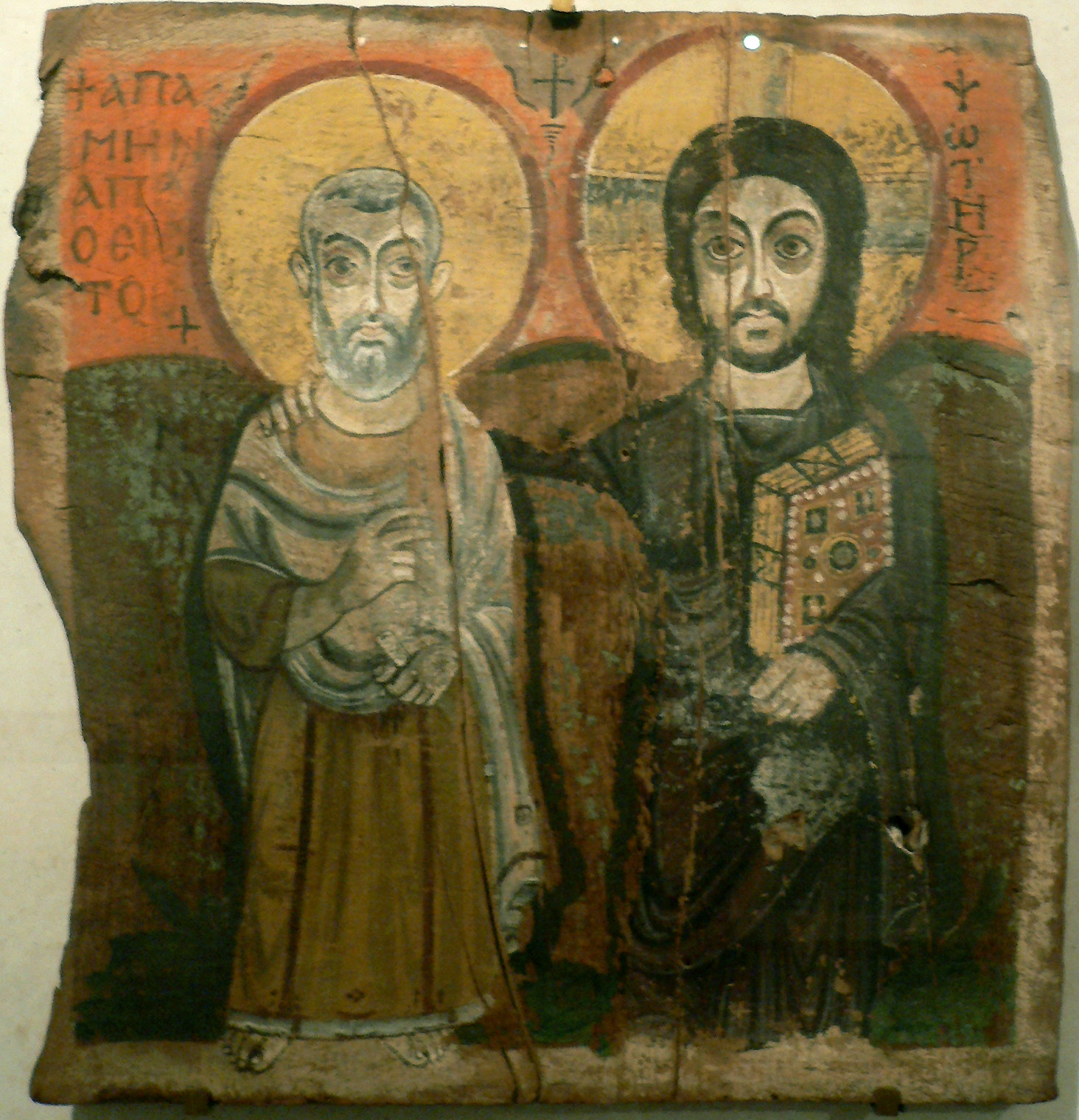 This early medieval painting of Jesus and the abbot of a monastery dates from the 6th or 7th century. The artist of this beautiful piece is unknown. Note how the figures of Jesus and the abbot are stylized, almost like drawings from a cartoon strip. (Image via Wikipedia)