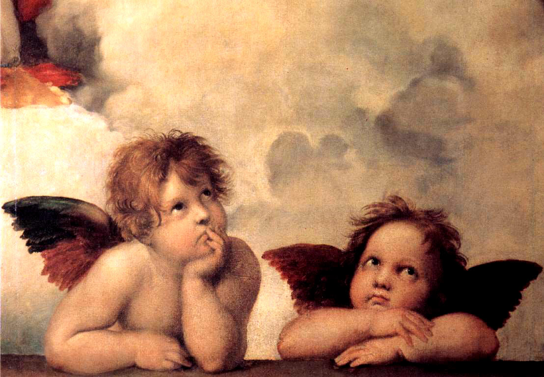 Two little angels? In this small section of the Sistine Madonna, two bored-looking cherubs wait for their elders to finish whatever it is they're doing.  (Image via Wikipedia)