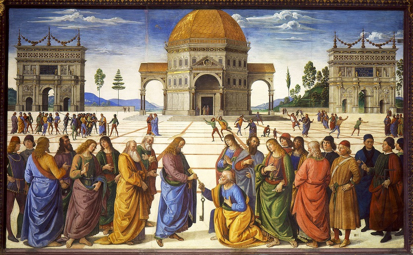 Pietro Perugino painted this fresco in the Sistine Chapel in Rome in about 1481. Called The Delivery of the Keys, it shows Christ giving St. Peter the keys to heaven. It is a powerful example of linear perspective, with the edges of the paving stones on the plaza serving as orthogonal lines and narrowing to the vanishing point near the doorway of the temple. Note the foreshortening of the human figures at different points in the background. (Image via Wikipedia)