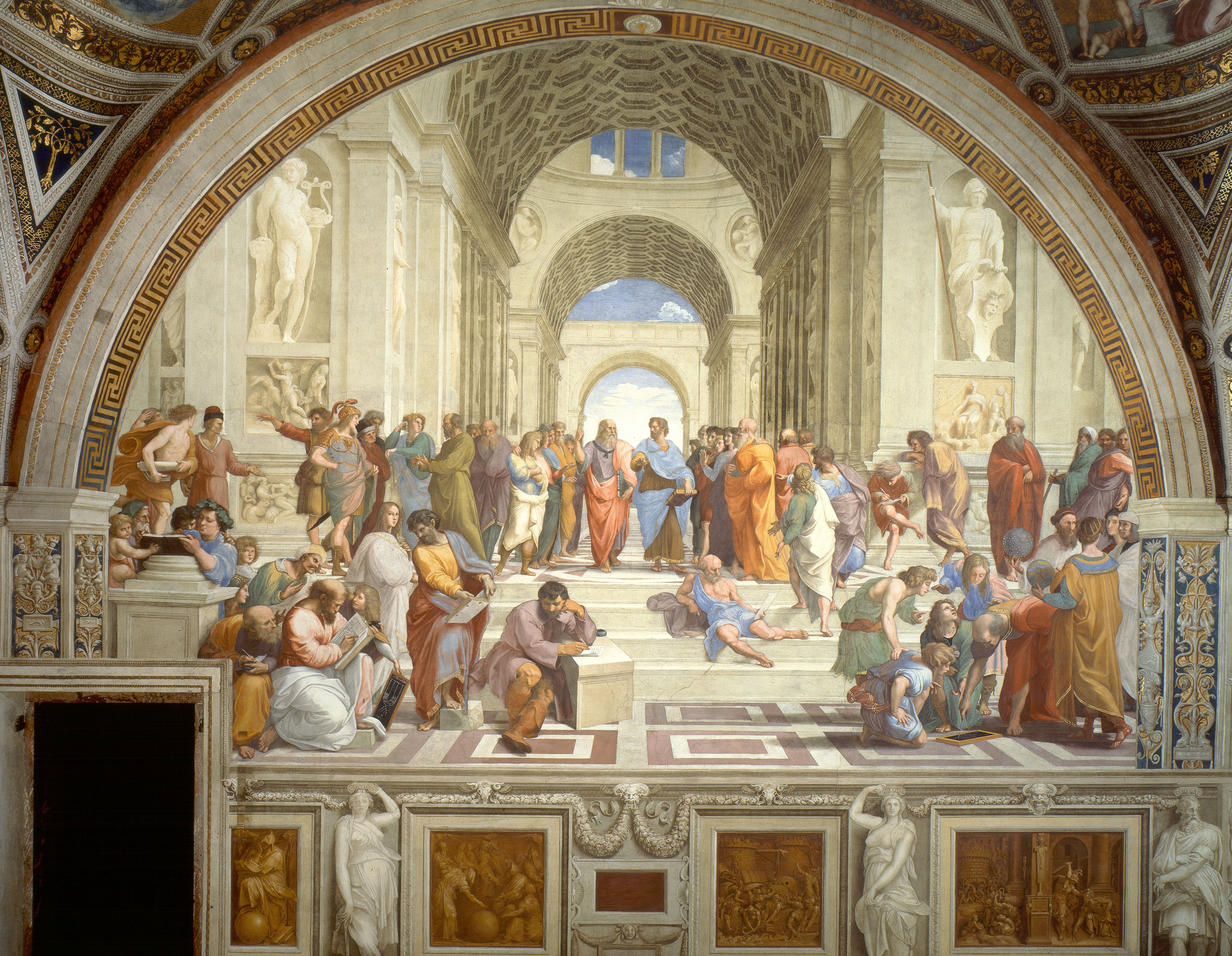 "The School of Athens painted by Raphael in about 1509 typifies what the Renaissance was all about. The humanists looked back on ancient Greece and Rome as a time of cultural advancement and artistic achievement—and they wanted to bring the ""light"" of those times into their own age. With the ancient Greek philosophers Plato and Aristotle at the center of the action, the School of Athens pictures numerous philosophers reading, writing, listening, and discussing. This demonstrates some key beliefs of the Renaissance humanists—that society should pursue knowledge and education, that ideas both old and new are worthwhile and exciting, and that public debate is important.  (Image via Wikipedia)"