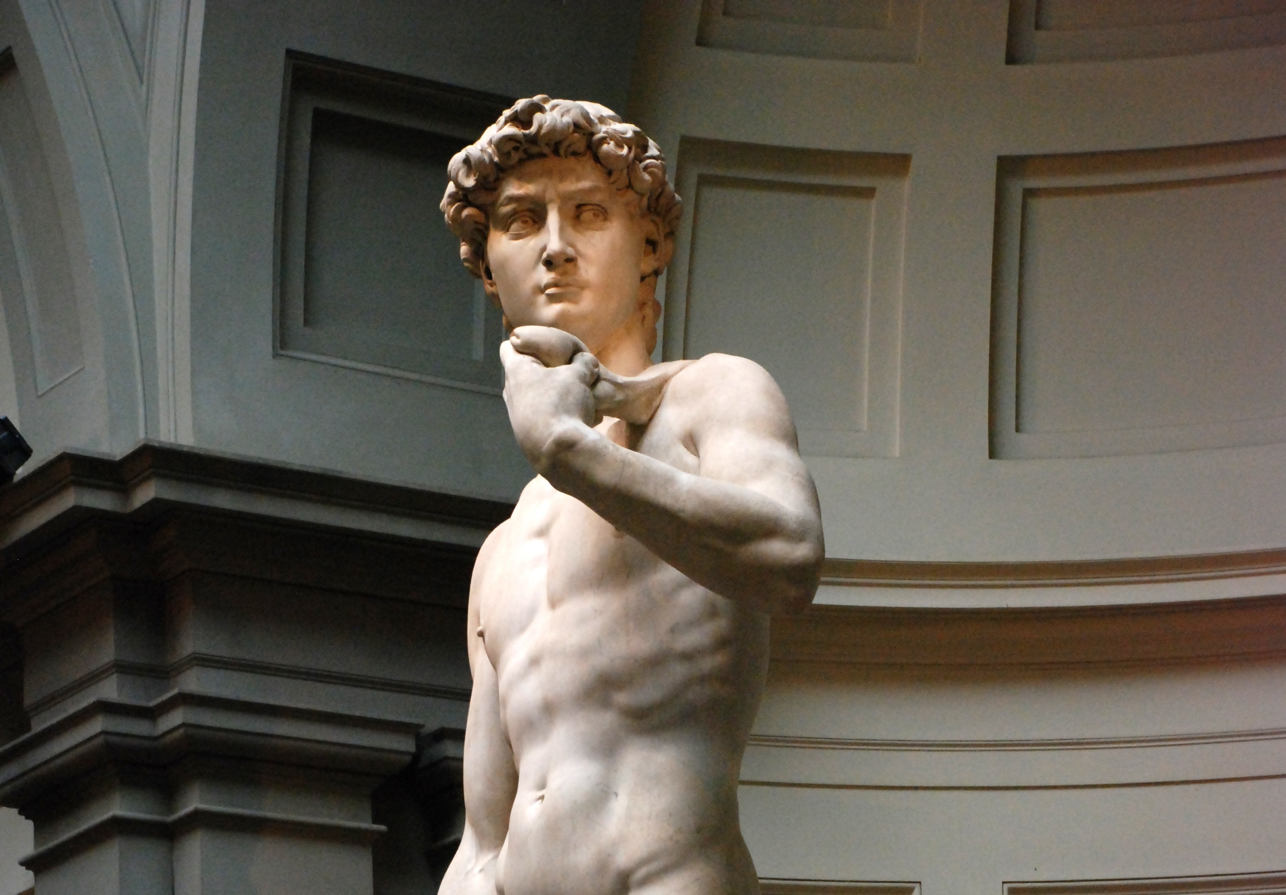 Michelangelo chose to depict David in the moment before he slayed the giant. Meant to show that David was determined, courageous, and a bit fearful (as David would not know at this point if he would successfully defeat the giant), the marble forehead is tight with worry and concentration. (Image via Wikipedia)
