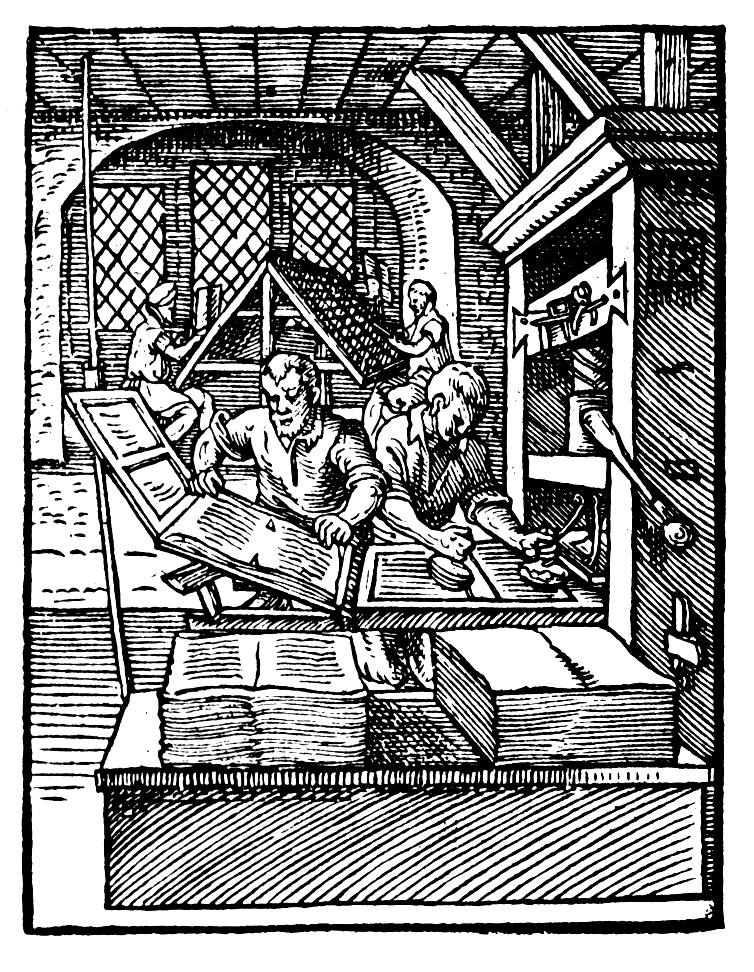 The Renaissance version of a selfie, this is a print of an early print shop.  This illustration from 1568 shows two printers working together on a Gutenberg-style press—the printer on the right is inking the type for the next pressing and the printer on the left is removing a freshly printed sheet. In the background, compositors are setting new pages of type on forms. (Image via Wikipedia)