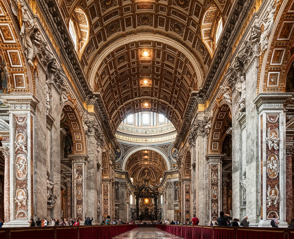One of the largest churches in the world, St. Peter's Basilica in Rome took over 100 years to build. The interior—with its columns, rounded arches and profound symmetry—shows the influence of Roman architecture on Renaissance design. (WDG Photo/ Shutterstock)
