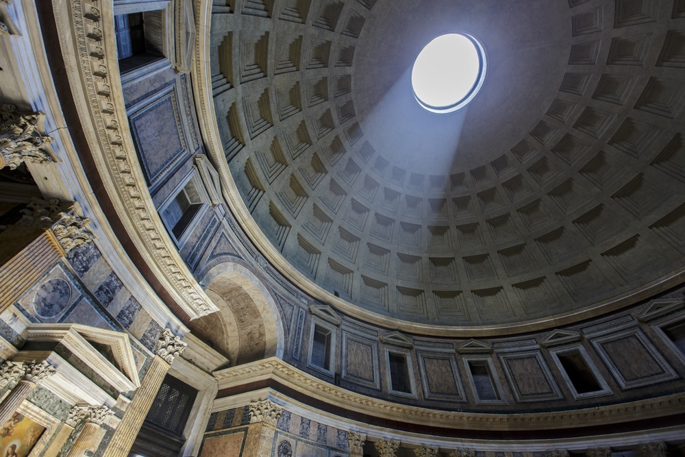 Built in AD 126 (and still standing), the Pantheon in Rome was a temple to all of Rome's gods. It is topped by an enormous concrete dome and was an inspiration to Renaissance architects. (Goran Bogicevic/ Shutterstock)