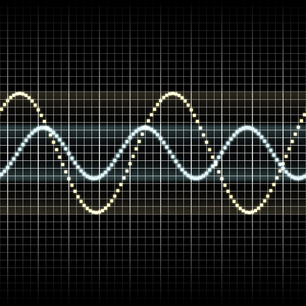 "Oscilloscopes are machines that measure and create images of sound waves, such as the two shown here. The blue sound wave is higher pitched but softer. The yellow sound wave is lower pitched but louder. The loudness, or amplitude, is measured by the height of the wave. The frequency (pitch) is determined by the distance between the ""hills"" (the wavelength). (Khen Guan Toh/ Shutterstock)"