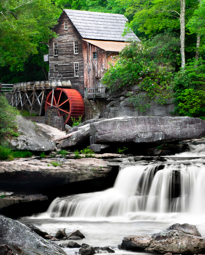 At this historic grist mill, the river turns the water wheel, which connects by shafts to turn a grinding stone. Farmers would bring their grain to grist mills to have it ground into flour. (Tim Mainiero / Shutterstock)
