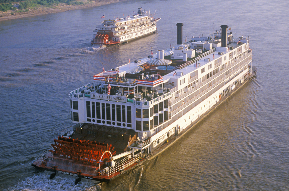 The Mississippi River system was (and still is) a major transportation route, with cities including Minneapolis, St. Louis, Memphis, and New Orleans standing along its banks.  In the 19th century, paddle-wheel steamboats ran regularly up and down the Mississippi River. Today, the historic Delta Queen still carries passengers. (Spirit of America / Shutterstock)