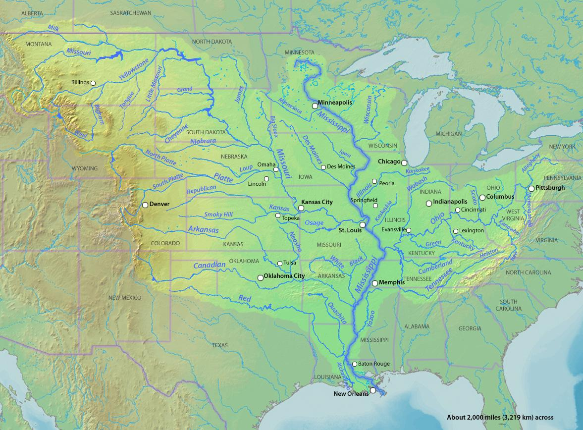 The largest watershed in North America, the Mississippi River drainage basin covers 31 states and it is fed by waters originating from as far away as the Rocky Mountains. All the waterways in the highlighted region flow into the Mississippi River, creating a massive outflow of water into the Gulf of Mexico where the river ends at New Orleans. (Wikipedia Commons)