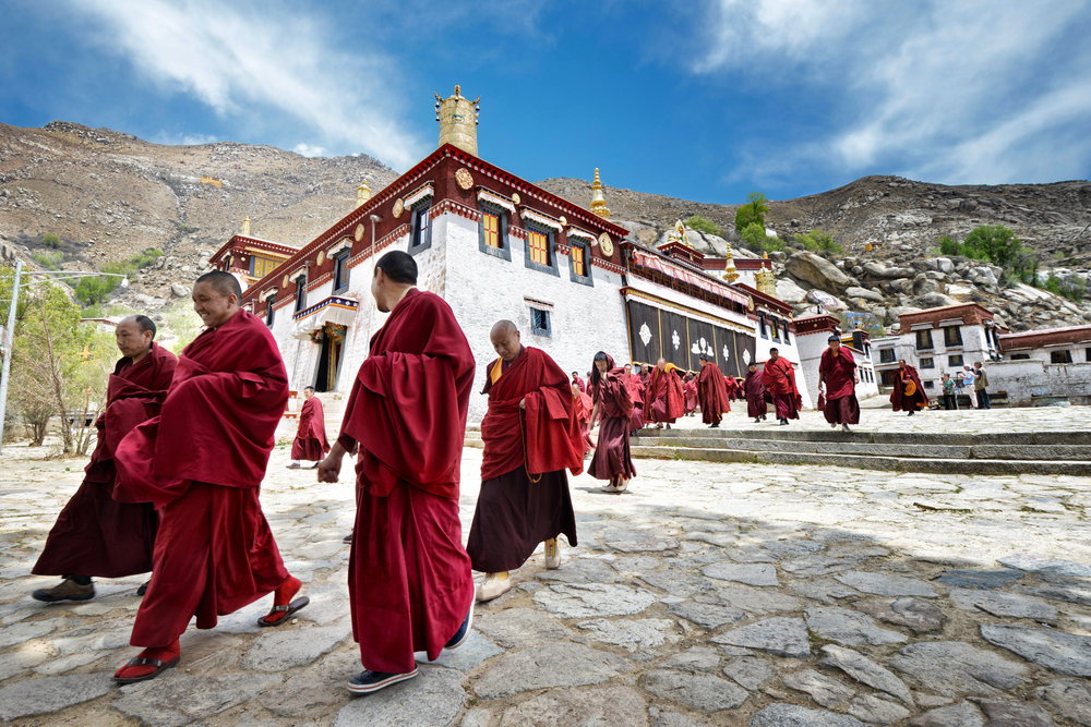 These Tibetan monks gather in Lhasa, Tibet, an important religious center. At nearly 12,000 feet, Lhasa is also one of the world's highest cities. (Hung Ching Chih / Shutterstock)