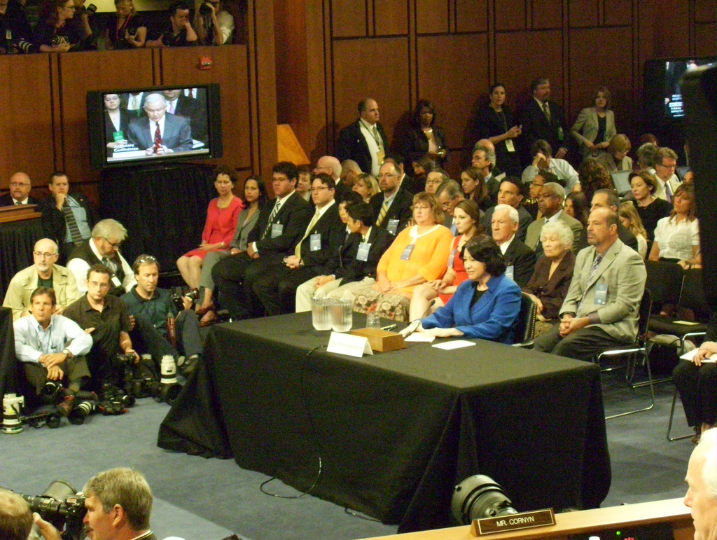 "Before becoming a Supreme Court justice, Sonia Sotomayor had to answer questions posed by members of the Senate Judiciary Committee in front of journalists and a large audience. ""The task of a judge is not to make law. It is to apply the law,"" she said to the committee. She also thanked her mom who was sitting behind her. (Photo Credit: Talk Radio News Service)"