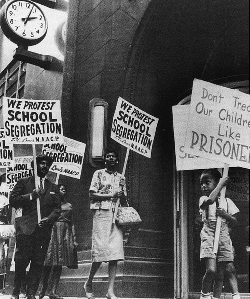 In the early 1950s, public protests helped bring the fight to desegregate schools all the way to the Supreme Court. (Photo Credit: Public Domain)