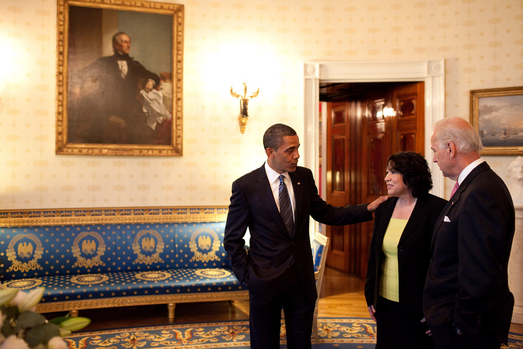 At the White House, President Barack Obama and Vice President Joe Biden congratulate Sonia Sotomayor after the president nominated her to serve on the Supreme Court. (Photo Credit: The White House)