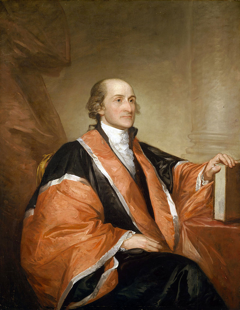 John Jay was the very first chief justice of the Supreme Court. In the early years of the court, multicolor robes were the fashion. (Portrait: Gilbert Stuart)