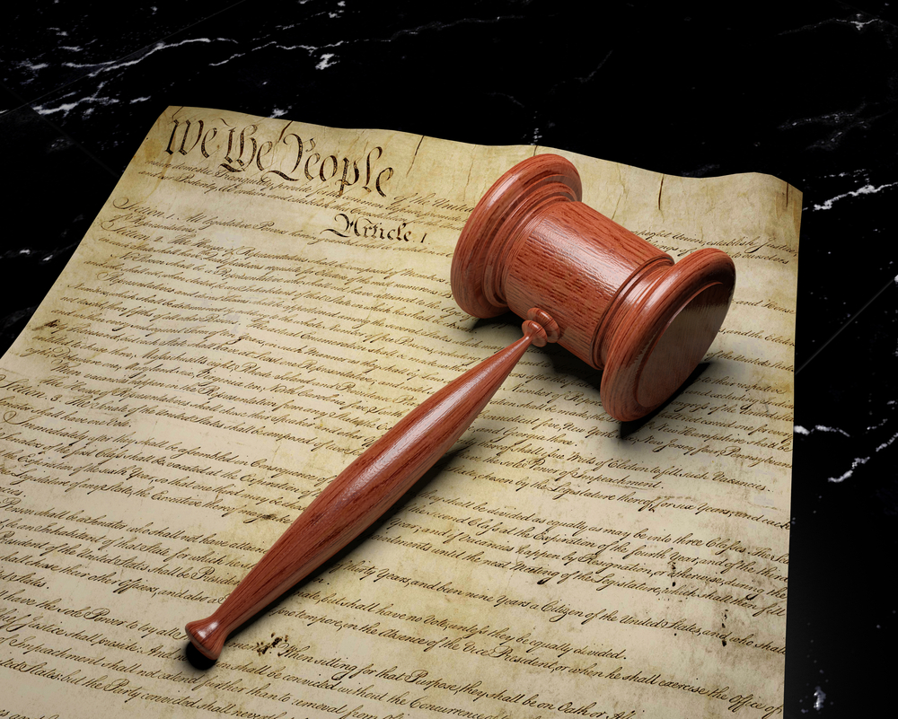The United States is a nation of laws, and the Constitution is its founding document. The Constitution lays out America's form of government and the rights of its citizens. Some of the rights in the Constitution include the freedom of speech and the right to equal protection under the law. The Supreme Court often hears cases on topics of constitutional law. (Shutterstock: artboySHF)