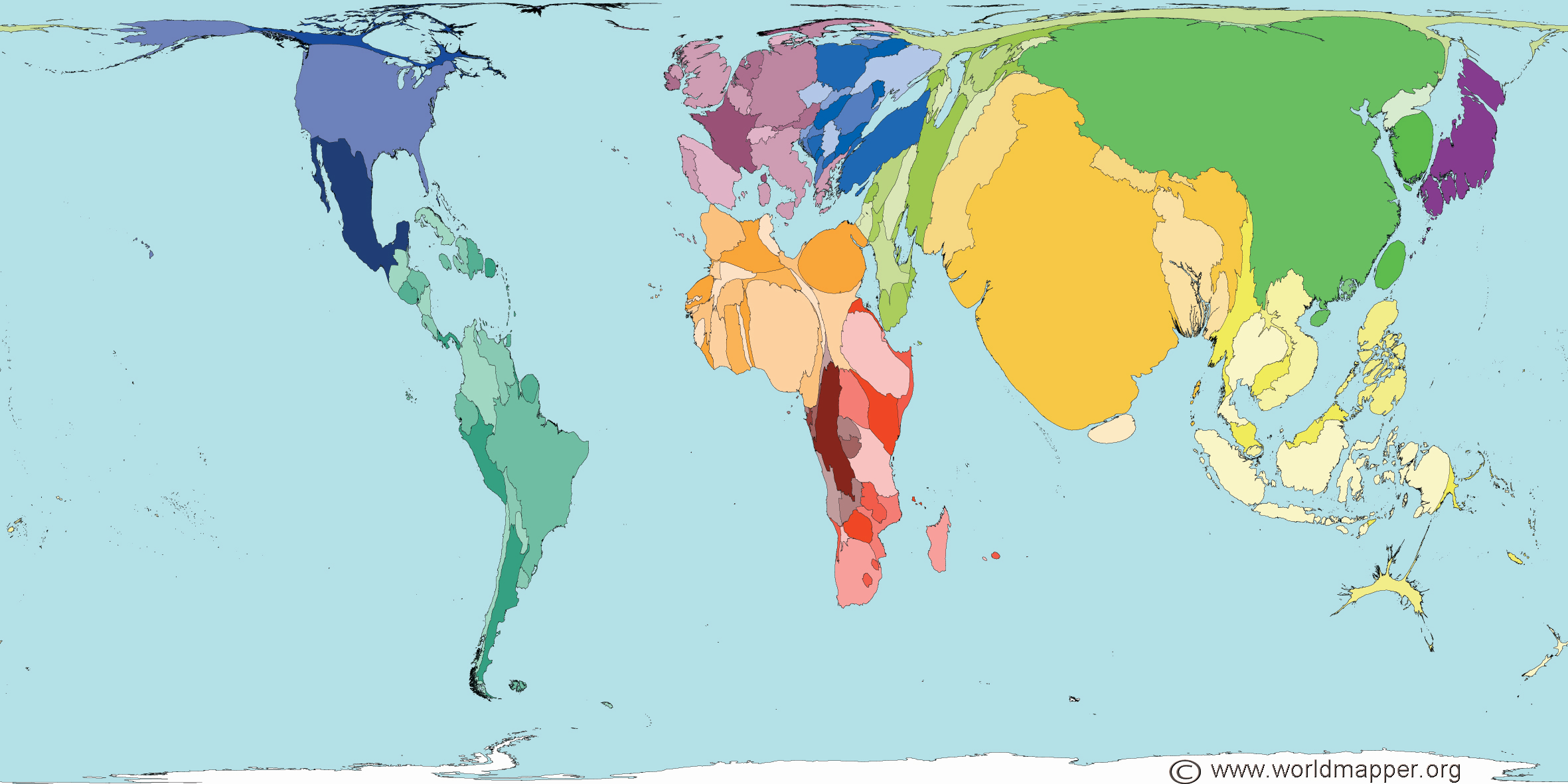 world maps by total population