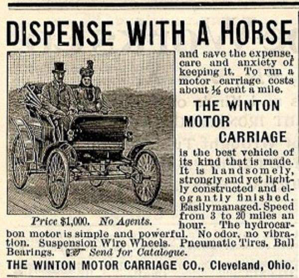 The Winton Motor Company began producing horseless carriages in 1898. It was one of the first American companies to make gasoline-powered engines. (Winton Motor Company)