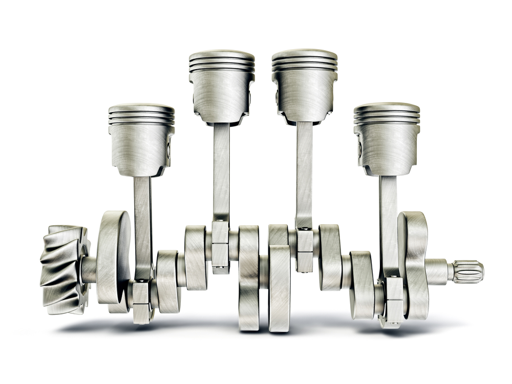 A typical car engine has 4, 6, or 8 pistons inside cylinders. The pistons move up and down, turning a crank that turns the wheels of the car. (Note: The cylinders are not shown in this picture, so you can see how the pistons attach to the crankshaft. Shutterstock / Alex Roz)
