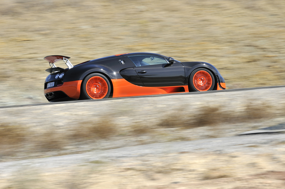 The fastest commercially made car in the world, the Bugatti Veyron Super Sport can go 267 mph thanks to a 16-cylinder turbocharged engine. If you want to buy one, start saving now. Its sticker price is $2.7 million. (Shutterstock / Max Earey)
