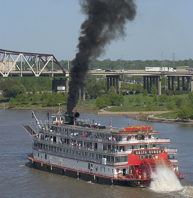 "In the steamboat era, ""packet boats"" carried merchandise. ""Showboats"" were big multilevel passenger boats famous for stage shows, gambling, and steam-powered calliope music. This historic steamboat, the Delta Queen, participates in the Great Steamboat Race on the Ohio River in Louisville, Kentucky. (Joe Schneid)"