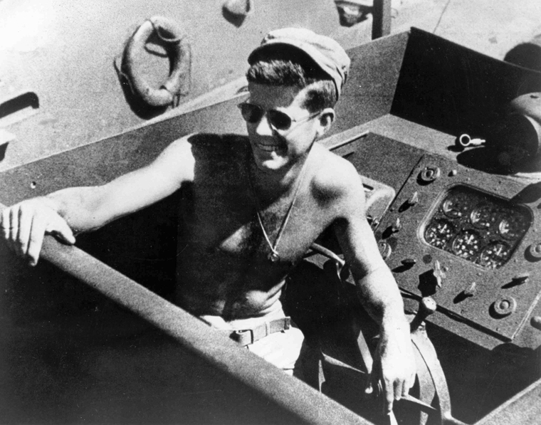 Lieutenant John F. Kennedy on PT-109 in the South Pacific in 1943. (John F. Kennedy Presidential Library and Museum, Boston.)