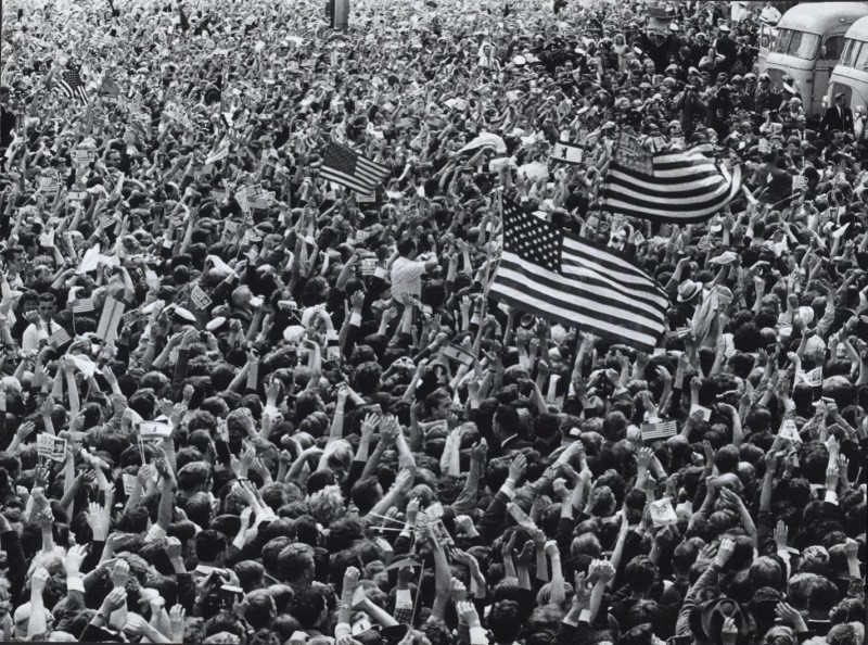 """Crowds in West Berlin waiting to hear JFK's """"Ich Bin Ein Berliner"""" speech, 6/26/1963 (U.S. National Archives)"""