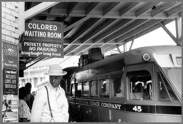 In states where segregation laws were passed, blacks and whites sat in separate sections on public transportation. (LIbrary of Congress)