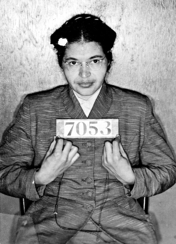 Rosa Parks, at the time of her arrest for refusing to give up her seat on a Montgomery, Alabama bus to a white passenger, 1st December 1955 (Bridgeman Images)