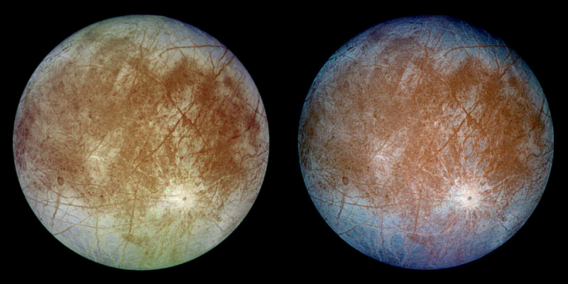 Astrobiologists wonder if Jupiter's moon Europa could have bacteria in an ocean beneath its icy surface. (NASA)