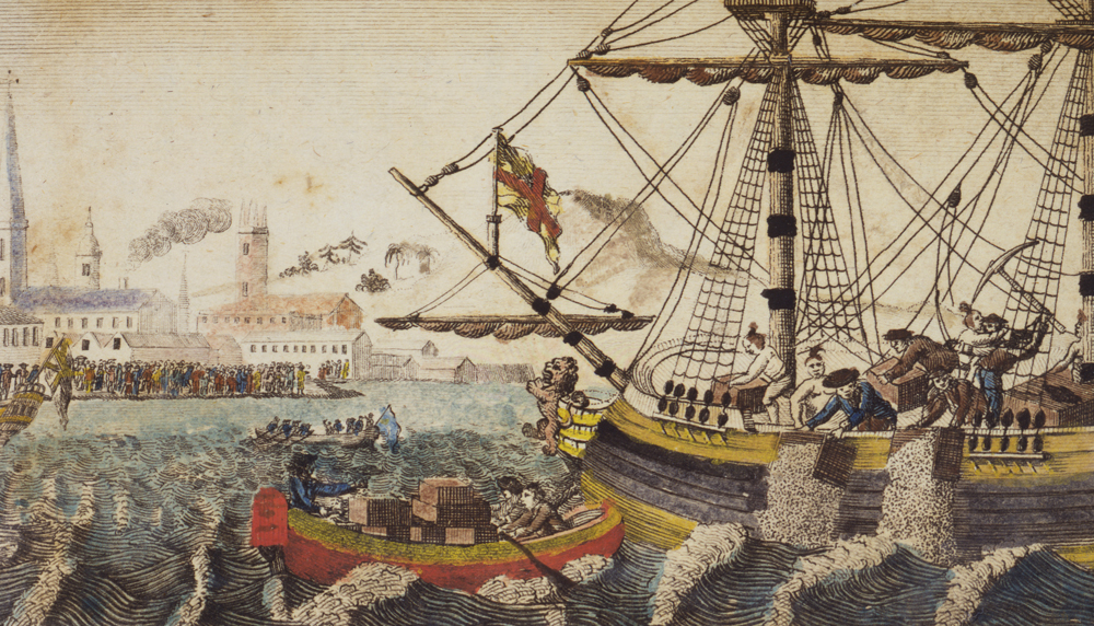 An engraving from 1789 of the Boston Tea Party. (Library of Congress)