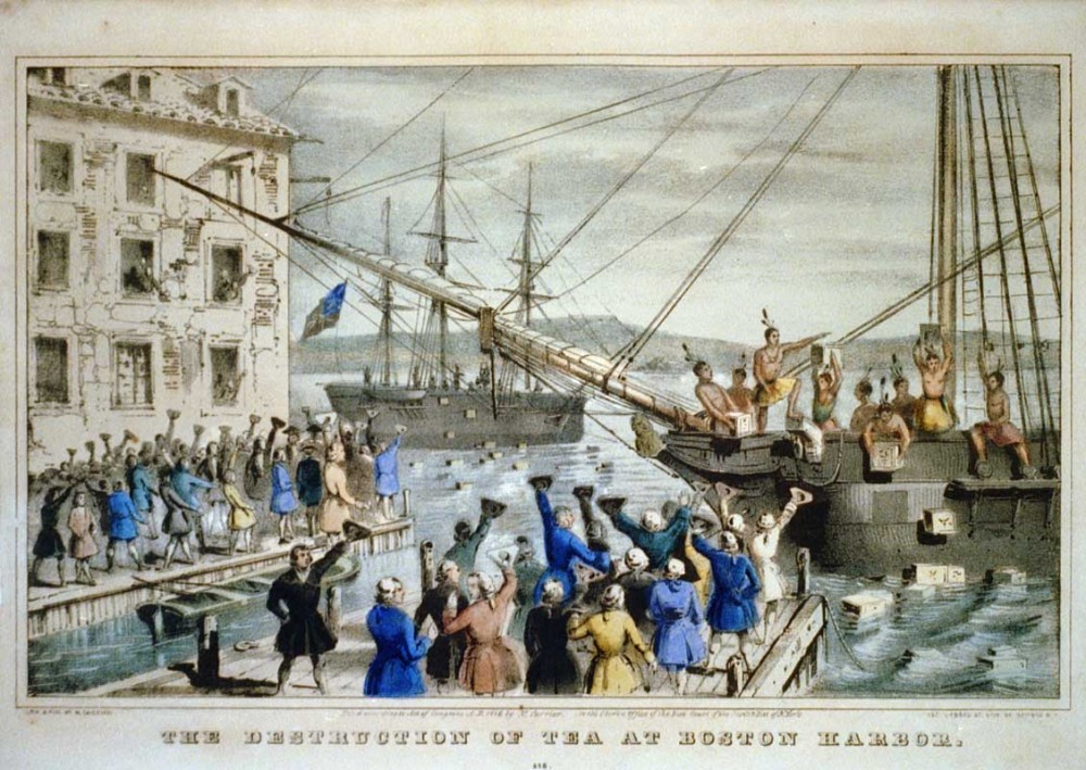 Drawn almost 100 years after the Boston Tea Party, this picture by Nathaniel Currier captures the spirit of the Boston Tea Party, if not the actual details. In winter, it is unlikely anyone was shirtless, but a large crowd did indeed observe the destruction of the tea. (Lithograph by Nathaniel Currier)