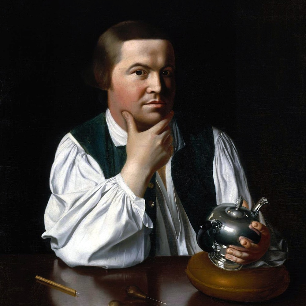 Paul Revere was one of the most famous patriots of the American Revolution—and one of the leaders of the Sons of Liberty and Boston Tea Party. He was also a silversmith, who made thousands of household objects. In this portrait painted by John Singleton Copley from 1768, Revere is holding—yes—a teapot. Despite the boycotts of British tea inspired by tea taxes under the Townshend Acts, many colonists still drank smuggled tea. (Painting by John Singleton Copley)